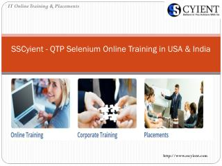 SSCyient - QTP Selenium Online Training in USA & India