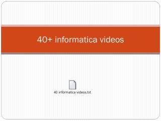 informatica video tutorials with scenarios