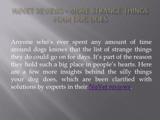 NuVet Reviews – More Strange Things Your Dog Does