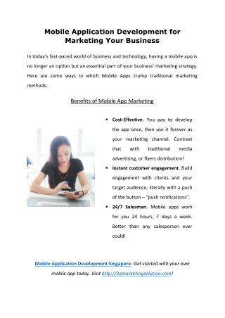 Mobile Application Development for Marketing Your Business