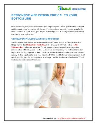 Responsive Web Design Critical to Your Bottom Line