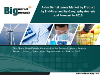 The Asian dental lasers market is expected to grow at a CAGR of 6.6% from 2014 to 2019.
