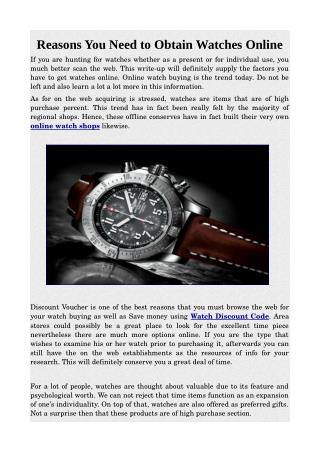 Reasons You Need to Obtain Watches Online