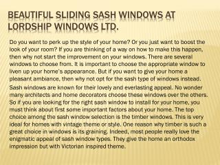 Beautiful Sliding Sash Windows at Lordship Windows Ltd.