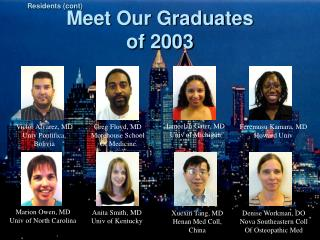 Meet Our Graduates of 2003