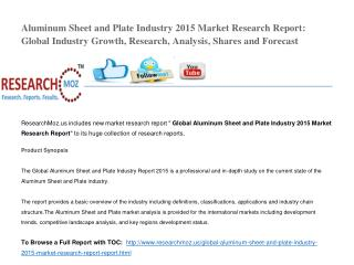 Aluminum Sheet and Plate Industry 2015 Market Research Report: Global Industry Growth, Research, Analysis, Shares and Fo