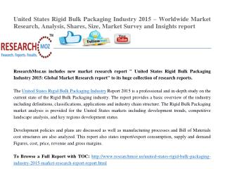United States Rigid Bulk Packaging Industry 2015 – Worldwide Market Research, Analysis, Shares, Size, Market Survey and