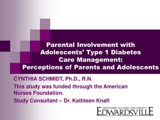 Parental Involvement with  Adolescents  Type 1 Diabetes  Care Management: Perceptions of Parents and Adolescents