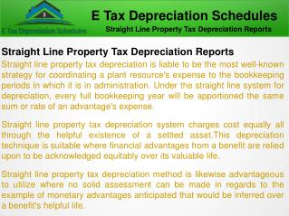 Straight Line Property Tax Depreciation ATO