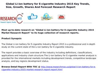 Global Li-ion battery for E-cigarette Industry 2015 Market Research Report