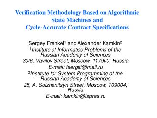 Verification Methodology Based on Algorithmic State Machines and Cycle-Accurate Contract Specifications