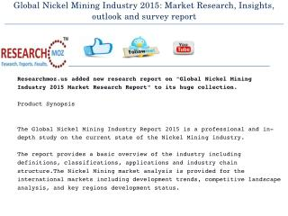 Global Nickel Mining Industry 2015 Market Research Report