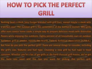 How to Pick Your Perfect Grill