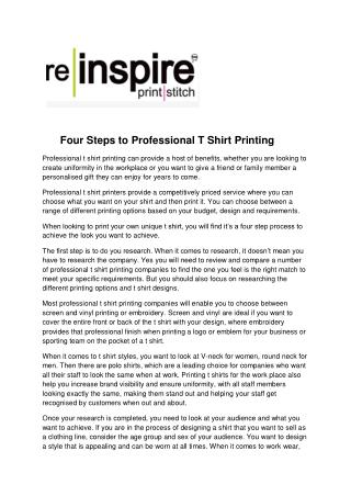 Four Steps to Professional T Shirt Printing