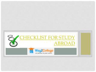 Checklist for Study Abroad