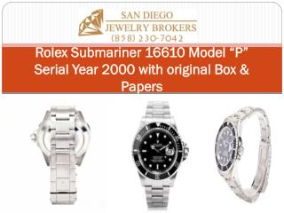 """Rolex Submariner 16610 Model """"P"""" Serial Year 2000 with original Box & Papers"""