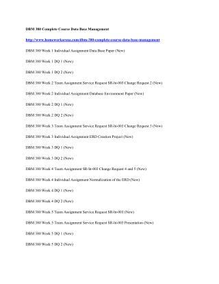 DBM 380 Complete Course Data Base Management