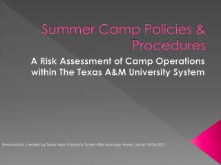 Summer Camp Policies  Procedures