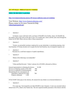 ACC 307 Strayer - Midterm Exam Set 2 Solutions
