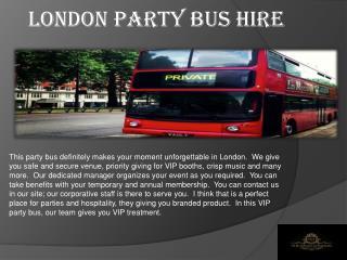 London Party Bus Hire