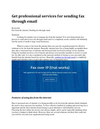 Get professional services for sending fax through email