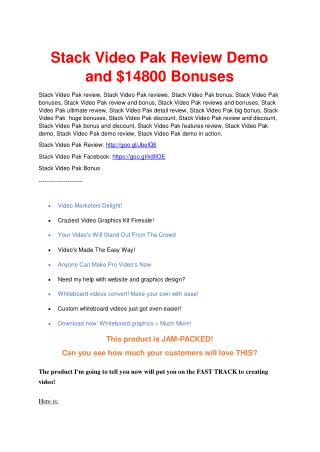 Stack Video Pak Review & Stack Video Pak $16,700 bonuses