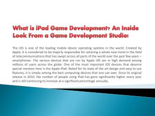 What is iPad Game Development? An Inside Look From a Game Development Studio!
