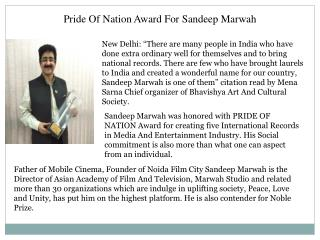 Pride Of Nation Award For Sandeep Marwah