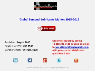Global Personal Lubricants Market 2015-2019