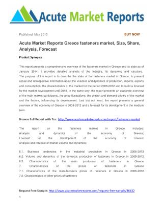 Acute Market Reports Greece fasteners market, Size, Share, Analysis, Forecast