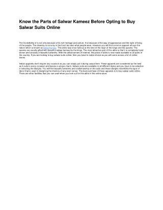 Know the Parts of Salwar Kameez Before Opting to Buy Salwar Suits Online