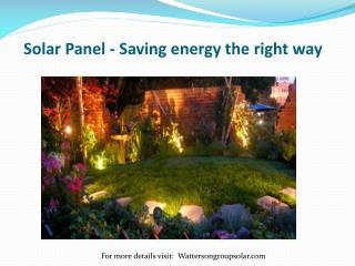Solar Panel - Saving energy the right way