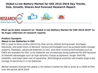 Global Li-ion Battery Market for ESS 2015-2019