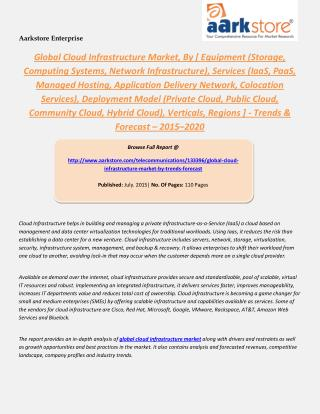 Global Cloud Infrastructure Market By Equipment, Services, Deployment Model, Verticals, Regions Trends & Forecast – 2015