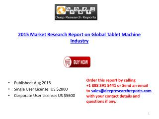 Worldwide Tablet Machine Industry 2015 Research Report