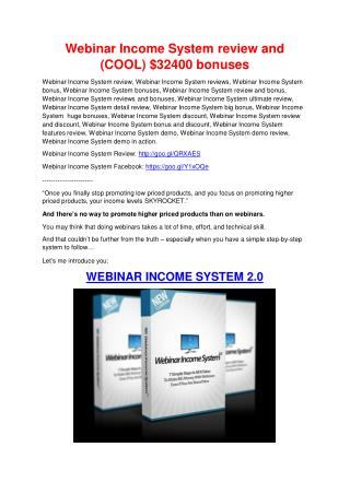 Webinar Income System REVIEW & Webinar Income System(SECRET) Bonuses