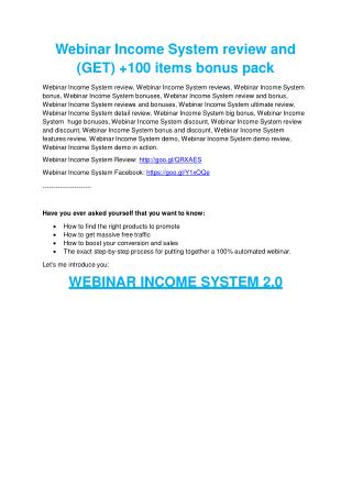 Webinar Income System review - I was shocked!