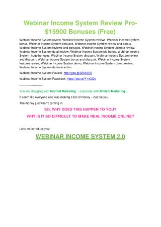 Webinar Income System review and (MEGA) bonuses – Webinar Income System