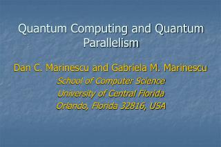 Quantum Computing and Quantum Parallelism