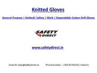 General Purpose | Knitted | Safety | Work | Dependable Cotton Drill Gloves | Safetydirect.ie