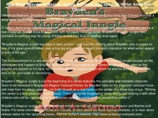 New Book Brayden's Magical Jungle Released by Cape Cod Writer Anita Ann Caruso