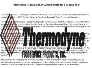 Thermodyne Receives A&W Canada Award for a Second Year