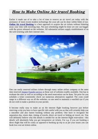 How to Make Online Air travel Booking