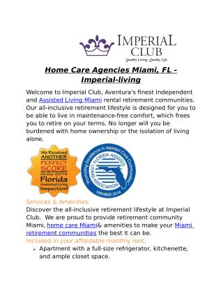 Home Care Agencies Miami, FL - Imperial-living