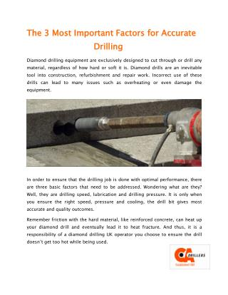 The 3 Most Important Factors for Accurate 						Drilling