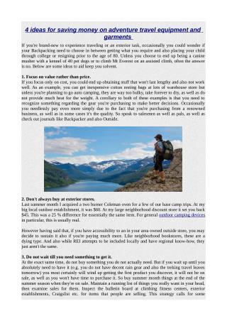 4 ideas for saving money on adventure travel equipment and garments