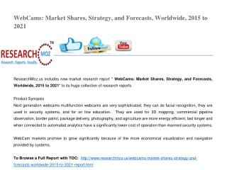 WebCams: Market Shares, Strategy, and Forecasts, Worldwide, 2015 to 2021