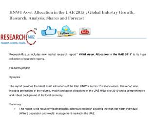 HNWI Asset Allocation in the UAE 2015