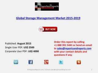 Global Storage Management Market Size & Forecast to 2019