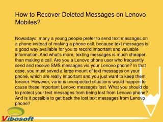 Lenovo SMS Recovery: Retrieve Deleted Messages on Lenovo Phone